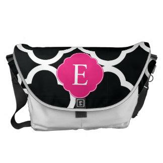Black Pink Quatrefoil Monogram Courier Bags