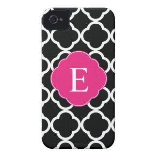 Black Pink Quatrefoil Monogram iPhone 4 Case-Mate Case