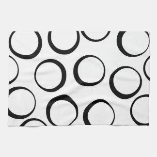 black pink retro circle pattern dish towel