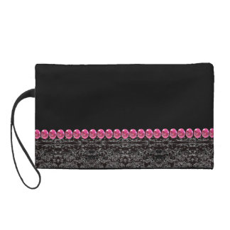 Black Pink Rhinestone Look Clutch Purse Fashion Wristlet Clutches