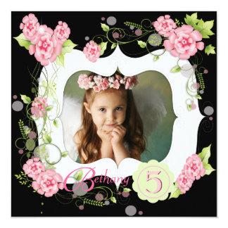 "Black Pink Rose Girls Photo 5th Birthday Party 5.25"" Square Invitation Card"