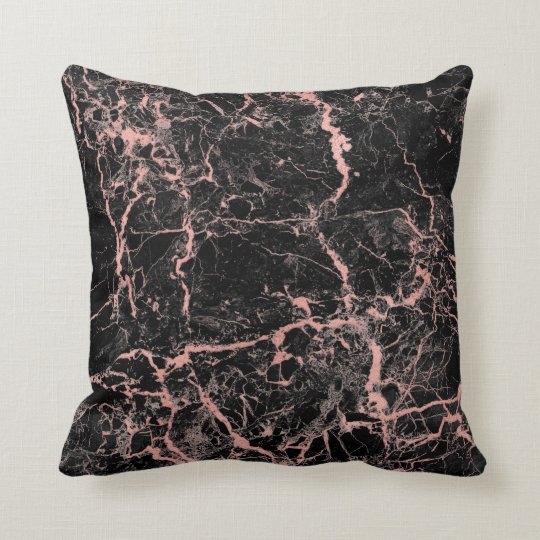 Black Pink Rose Gold Abstract Marble Glam Cushion