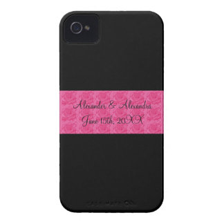 Black pink roses wedding favors iPhone 4 cover
