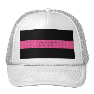 Black pink roses wedding favors hat