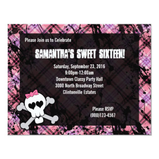 Black & Pink Skull Crossbones Sweet Sixteen Party 11 Cm X 14 Cm Invitation Card