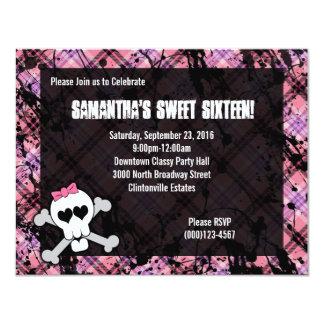 Black & Pink Skull Crossbones Sweet Sixteen Party Card