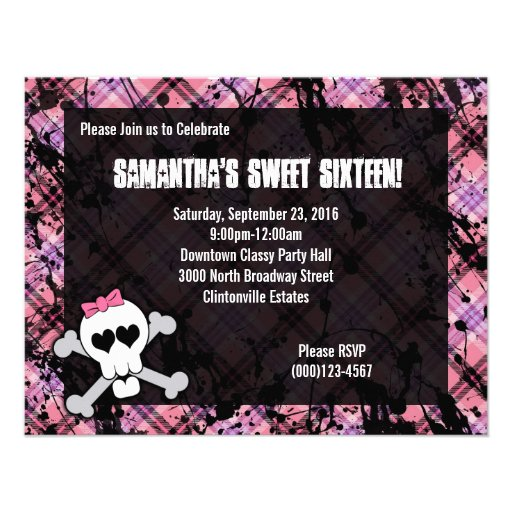 Black & Pink Skull Crossbones Sweet Sixteen Party Personalized Announcement