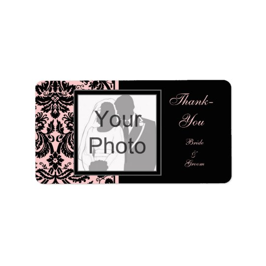 Black & Pink 'Thank You' Photo Template Labels