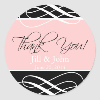 Black Pink Thank You Wedding Favour Sticker