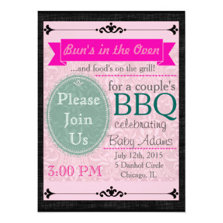 Black & Pink Thatched Invite