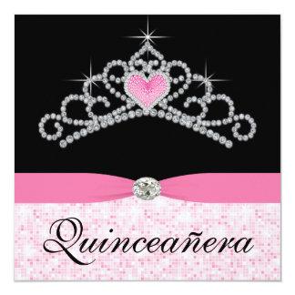 Black Pink Tiara Pink Black Sweet 15 Quinceanera 13 Cm X 13 Cm Square Invitation Card