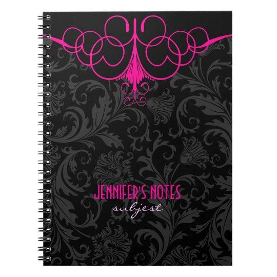 Black & Pink Vintage Damasks Spiral Notebook