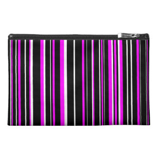 Black, Pink, White Barcode Stripe Travel Accessory Bag