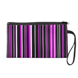 Black, Pink, White Barcode Stripe Wristlet