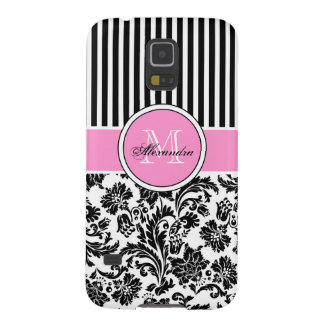 Black Pink & White Damask & Stripes Pattern Galaxy S5 Cases
