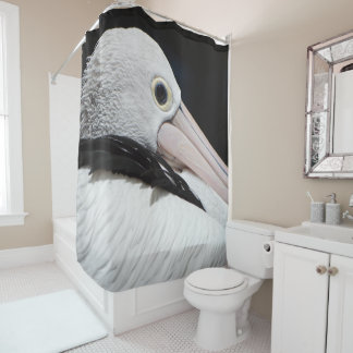 Black Pink White Pelican Shower Curtain