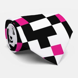 Black Pink White Pixel Pattern Tie