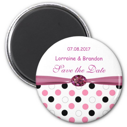 Black, pink, white polka dots Save the Date