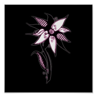 Black Pink White Swirly Flower by Naomi Posters