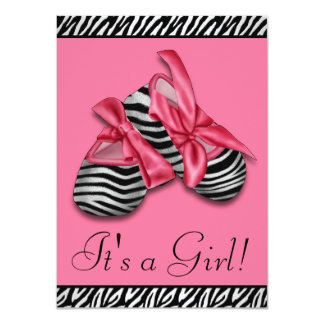 Black Pink Zebra Baby Shower Personalized Invite