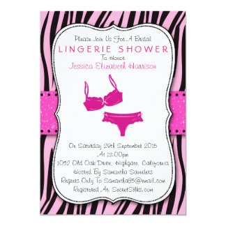 Black & Pink Zebra Print Bracket Lingerie Shower Card
