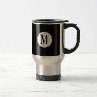 Black Pinstripe Single Monogram Mug