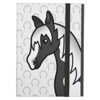 Black Pinto Cartoon Horse Head Case For iPad Air