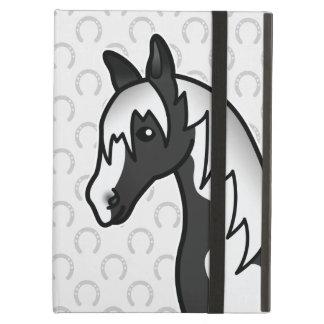 Black Pinto Cartoon Horse Head iPad Air Cover