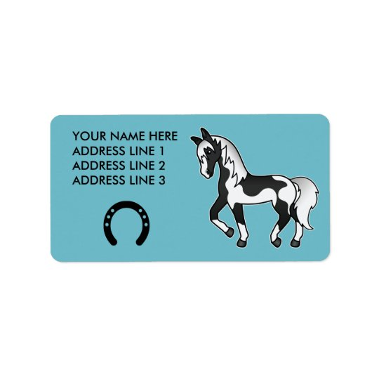 Black Pinto Trotting Cartoon Horse Address Label