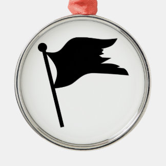 Black pirate flag Silver-Colored round decoration