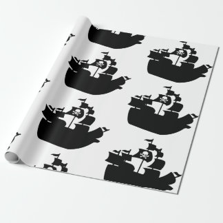 Black Pirate Ship Silhouette Wrapping Paper