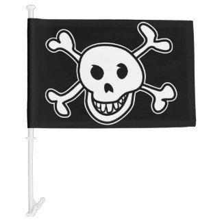 Black pirate skull and bones car window flag car flag