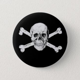 Black Pirate Skull and Crossbones 6 Cm Round Badge
