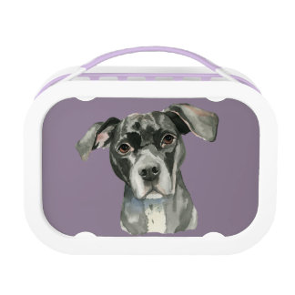 Black Pit Bull Dog Watercolor Portrait Lunchbox