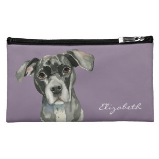 Black Pit Bull Dog Watercolor Portrait Makeup Bag