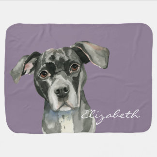 Black Pit Bull Dog Watercolor Portrait Pram blanket