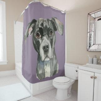 Black Pit Bull Dog Watercolor Portrait Shower Curtain