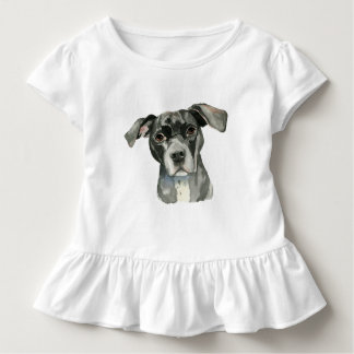 Black Pit Bull Dog Watercolor Portrait Toddler T-Shirt