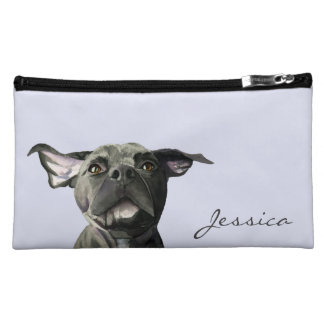 Black Pit Bull Dog with Wiggly Ears Watercolor Cosmetic Bag