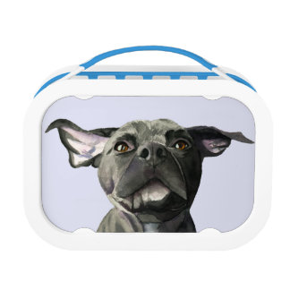 Black Pit Bull Dog with Wiggly Ears Watercolor Lunch Box