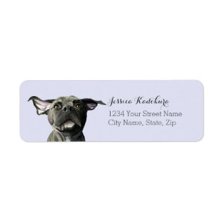 Black Pit Bull Dog with Wiggly Ears Watercolor Return Address Label