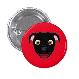 Black Pitbull Face 3 Cm Round Badge