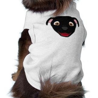 Black Pitbull Face Sleeveless Dog Shirt