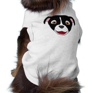 Black Pitbull Face with White Blaze Sleeveless Dog Shirt