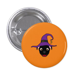 Black Pitbull with Witch Hat 3 Cm Round Badge