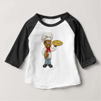 Black Pizza Chef Cartoon Character Baby T-Shirt