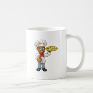 Black Pizza Chef Cartoon Character Coffee Mug