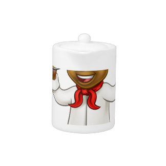 Black Pizza Chef Cartoon Mascot
