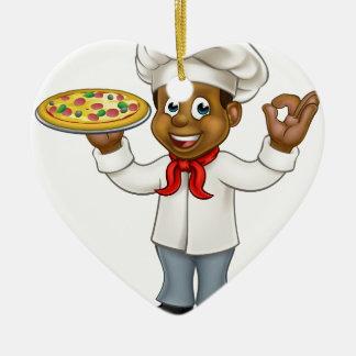 Black Pizza Chef Cartoon Mascot Ceramic Heart Decoration
