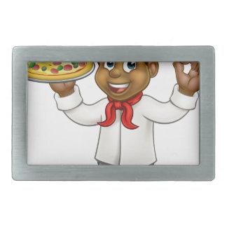 Black Pizza Chef Cartoon Mascot Rectangular Belt Buckles
